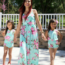 Fashion Floral Mother and Daughter Matching Floral Womens Girls Long Maxi Dress