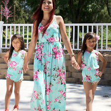 Family Floral Dress Mother and Daughter Matching Womens Girls Long Maxi Dresses*