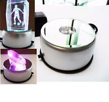 Brand New 3D Crystal Glass Trophy Laser 4LED Rotating Light Stand Base Display