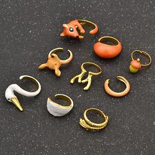 1 Set Cute Animals Adjustable Rings Enamel Alloy Jewellery Friendship Gifts