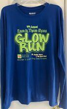 """Gilden Performance Men's Royal Blue Long Sleeve T-Shirt Size XL """"Glow Run"""""""