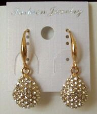 Earrings w/Pave Sparkly Clear Crystals Pretty & New Pierced Dangle-Drop Style