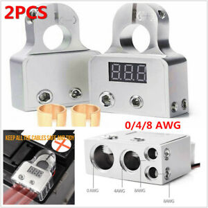Car Battery Terminal Connector Real-time Digital Voltmeter 0/4/8 AWG Power Post