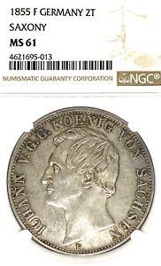 German States Saxony 1855 F Two Taler Coin NGC MS 61 VZ/F.STGL Thaler Deutsc UNC