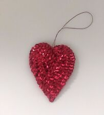 NEW 10x Red LOVE Heart Christmas Tree Decoration Bauble Tinsel SEQUIN Handmade