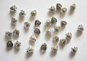30 Metal Antique Silver Heart Spacer Beads - 6mm