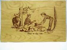 1950s POSTCARD THIS IS THE LIFE, BEAR WATCHING CAMPERS COOK
