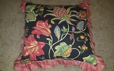 "Pillow Black Floral Tropic Green Corduroy Red Ruffle 20"" Throw Accent beautiful"