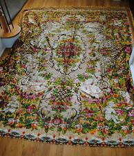 New listing Vintage 1950's Italian Floral Cherub Bedspread Tapestry Wall Rug Colorful Fringe