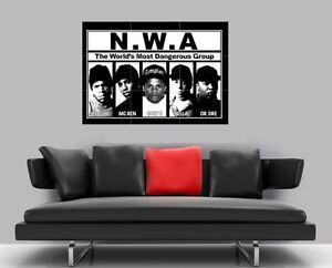 """N.W.A NWA DR DRE EASY E BORDERLESS MOSAIC TILE WALL POSTER 35"""" x 25"""" GANGSTA RAP"""
