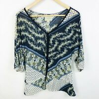 Anthropologie Deletta Size Small Blue Floral Blouse Top V Neck Buttons Navy Blue