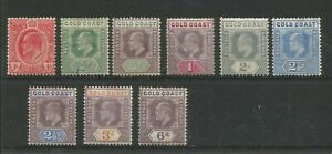 GOLD COAST FROM 1902/13 EDWARD VII  USEFUL SMALL UNUSED COLLECTION TO 6d