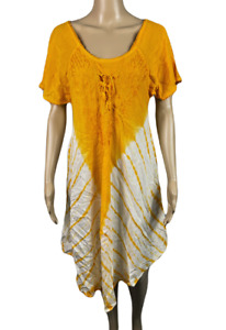 UNBRANDED   Orange Tie Dye Boho Dress Made In India 100% Viscose   Free Size