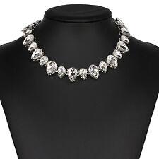 Strass weiß Tropfen Glamour Design Kette Halskette Collier Silber plattiert neu
