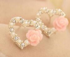 New Fashion Silver Plated Womens Crystal Love Rhinestone Ear Stud Heart Earrings