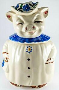 Vintage Shawnee WINNIE  Cookie Jar 3 Button Blue Collar Flowers