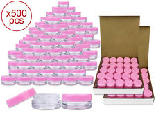 500 Pieces 3 Gram/3ml Plastic Round Clear Sample Jar Containers with Pink Lids