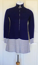 Vintage 70s Tunic Sweater Top Piccolino Italy Navy Blue White 14