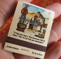Vtg 50s Unstruck Matchbook Cover - nebraska Cafe COWBOY JOKE ART advertising