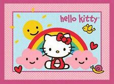 Hello Kitty Pink Blue Cat Girl Diva Heart Cloud Cotton Novelty Fabric PANEL
