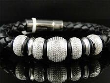 Mens SI Diamond Beaded Ball Leather Band Bracelet by Artica 5.5 Ct 14mm