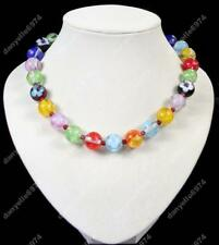 MULTI lampwork BIG GLASS BEAD NECKLACE red,blue,black