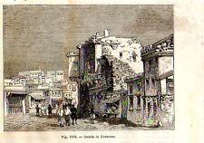 Stampa antica veduta di ERZURUM Turchia Turkey 1889 Old Print