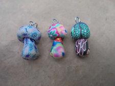 Set : 3 Pilz Anhänger handgemacht aus Fimo Ketten Hippie Goa Schmuck Psy Pilze