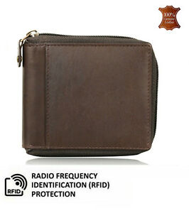 Mens Leather Wallet RFID Blocking Credit ID Card Holder With Zip Closure UKStock