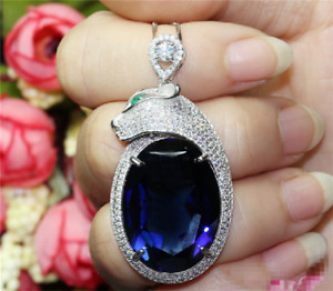 18x25mm Top quality Big Oval Royal Blue Sapphire Sterling Silver pendant Cool