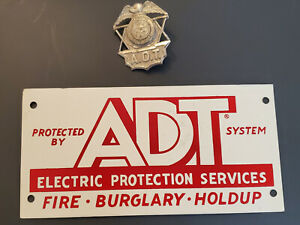 ADT Security Sign (vintage, red and white) + Badge