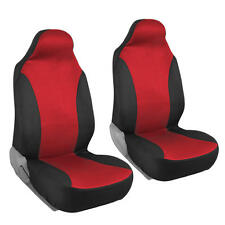 Black/Red Front Pair Seat Covers for Car - Flat Cloth Mesh Polyester 2pc Set