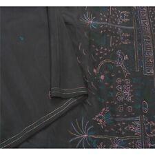 Sanskriti Vintage Black Indian Sari 100% Pure Silk Hand Beaded Fabric Sarees