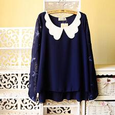 Brand New Japan Mori Style Peterpan Doll Collar Chiffon Shirt Blouse Top XS