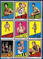 1972-73 Topps Basketball Starter Set 9 Different Cards (33-145) VG-EX/EX-MT