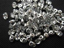 100 ST. Rocailles duo beads 5x2mm silber klar10201
