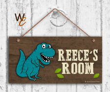 Blue T-Rex Sign, Personalized Sign, Kid's Name, Kids Door Sign, Dino 5x10 Sign
