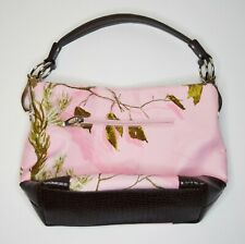 Pink Camouflage RealTree Womens Purse Bag Alligator Style Leather Clip on Strap