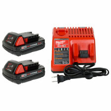 2 New Milwaukee M18 2.0 Ah Batteries 48-11-1820 & 1 Charger 48-59-1812