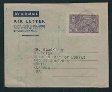 1951 Trinidad & Tobago Air Letter Sheet - Port of Spain to Mobile, Alabama
