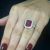 4Ct Emerald Red Ruby Diamond Engagement Halo Women's Ring 14K Yellow Gold Finish