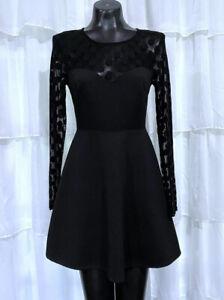 Medium LuLu's Black Polka Dot Fit & Flare Long Sleeve Dress