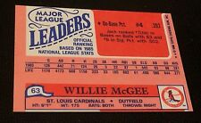 JACK CLARK 1986 Topps MINI Ldrs ERROR Partial WRONG BACK Willie Mcgee OddBaLL