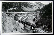 PULGA CA~1940's FEATHER RIVER CANYON~ SMOKING TRAIN ~ TRESSLE ~ EASTMAN RPPC