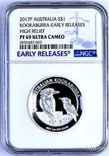 2017 P Australia HIGH RELIEF 1oz Silver Kookaburra $1 Coin NGC PF69 UC ER + OGP