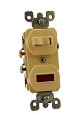 Leviton 5226-I Neon Pilot Ac Combination Switch with Rectangular light, Ivory