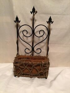 Wrought Iron And Twigs  Lg Half Wall Planter Basket