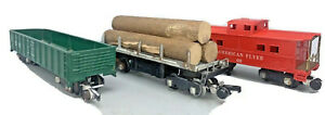 Lot of 3 American Flyer 631/638/714~Operating Log Unloading Car~Tested~