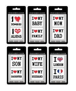 """Clean Sticker """"I love"""" weiß Display Handy Tablet Phone putzen sauber reinigen"""