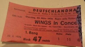 WINGS Paul McCartney Tour 1976, Concertheft,Sonderdruck und Kopie Eintrittskarte
